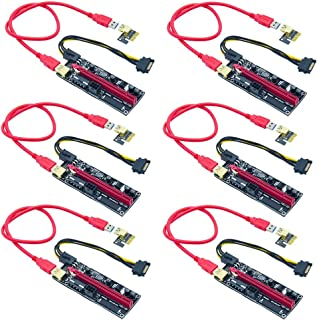 Xsentuals 6-Pack PCIE Riser VER 009S 1x to 16x Graphic Extension for GPU Mining USB Riser Adapter Card 60cm USB 3.0 Cable ...