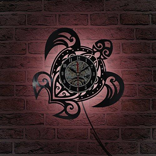JXWH Tabella del Vinile della Luce Notturna della Decorazione di Notte dell'orologio di Parete dell'orologio di Parete dell'orologio del Vinile dell'orologio della Parete della Tartaruga