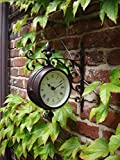 Outdoor indoor Clock double sided Thermometer Garden Wall Station Dia 14.5cm