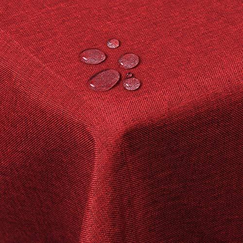 WOLTU TD3040rt Tischdecke Tischtuch Leinendecke Leinen Optik Lotuseffekt Fleckschutz pflegeleicht abwaschbar schmutzabweisend Farbe & Größe wählbar Eckig 130x160 cm Rot
