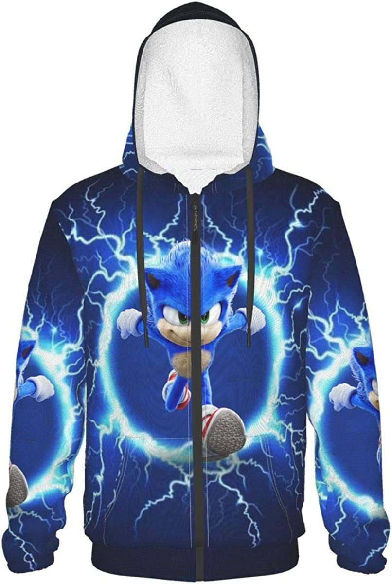 Teen Sonic-Hedgehog Hoodie Long Direct Brand new stock discount Sleeve Pullover Anim With Zip-Up