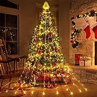 PUHONG 320-LED Waterproof Christmas Lights: 1 Christmas Topper & 9 String Lights