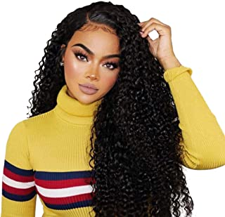 Beauty On Line 100% Human Hair Wigs Brazilian Kinky Curly 3 Part 4x4 Lace Closure Wigs For Women Bleached Knots 130% Density (16
