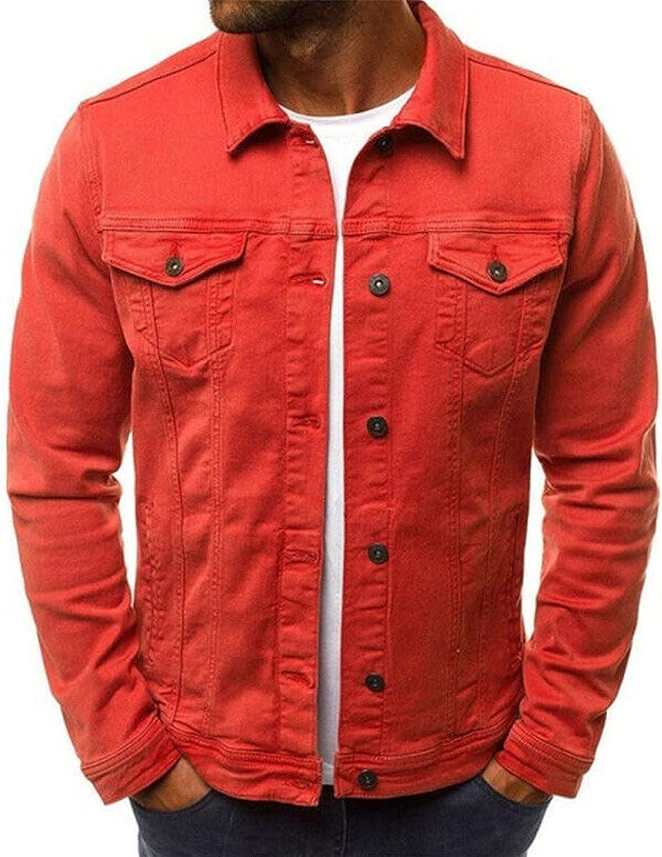 Men Denim Jacket Coat Pocket Casual Long Sleeve Slim Fit Outwear Solid Tops
