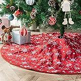 Deggodech 122cm/48inch Jupe de Sapin de Rouge Jupe Arbre de Noël avec Motif Flocon de Neige Blanc Tapis de Sapin de Noel Classique Couvre-Pied de Sapin pour Fête de Noël Décoration d'arbre de Noël