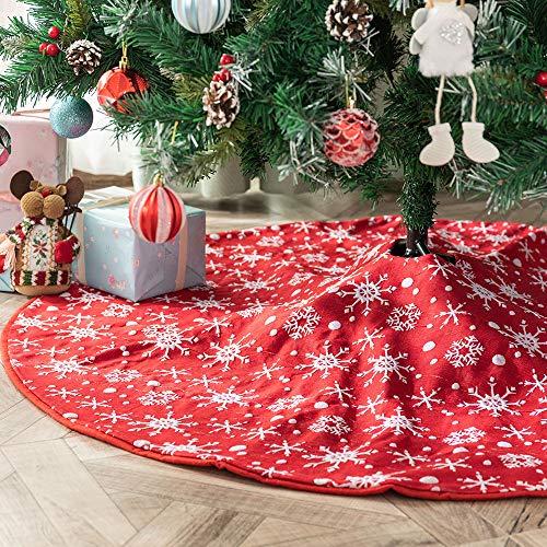 Deggodech 122cm Rosso Gonna Albero di Natale con Fiocco di Neve Bianco Pattern Gonne per Alberi di Natale Copertura della Base Dell'albero di Natale Festa Decorazioni (Rosso, 48inches)
