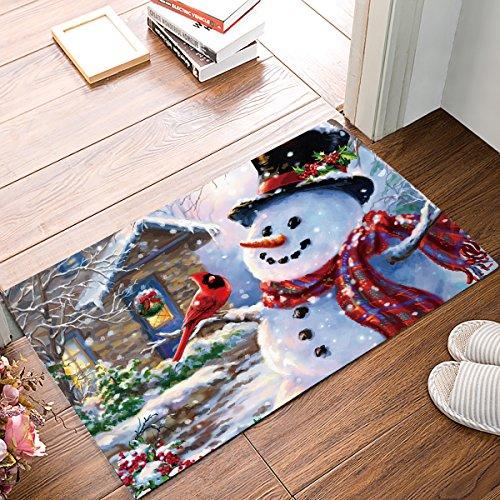Winter Holiday Christmas Happy Snowman and Cardinals Welcome Mats Doormats Non Slip Indoor/Outdoor/Front Door/Bathroom Entrance Rugs Carpet