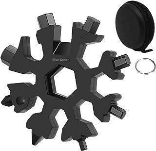 BLUE OCEAN® 18-in-1 Snowflake Multi Tool, Stainless Steel Snowflake Bottle Opener/Flat Phillips Screwdriver Kit/Wrench, Du...