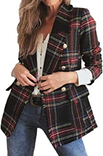 Mstyle Womens Casual Retro Double Breasted Loose Fit Plaid Blazer Jacket Suit Coat