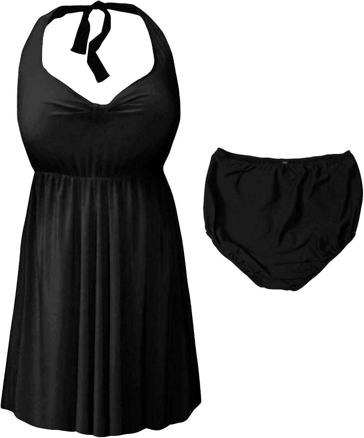 Sanctuarie Designs Black 2 Piece Halter Style Plus Size Swimdress