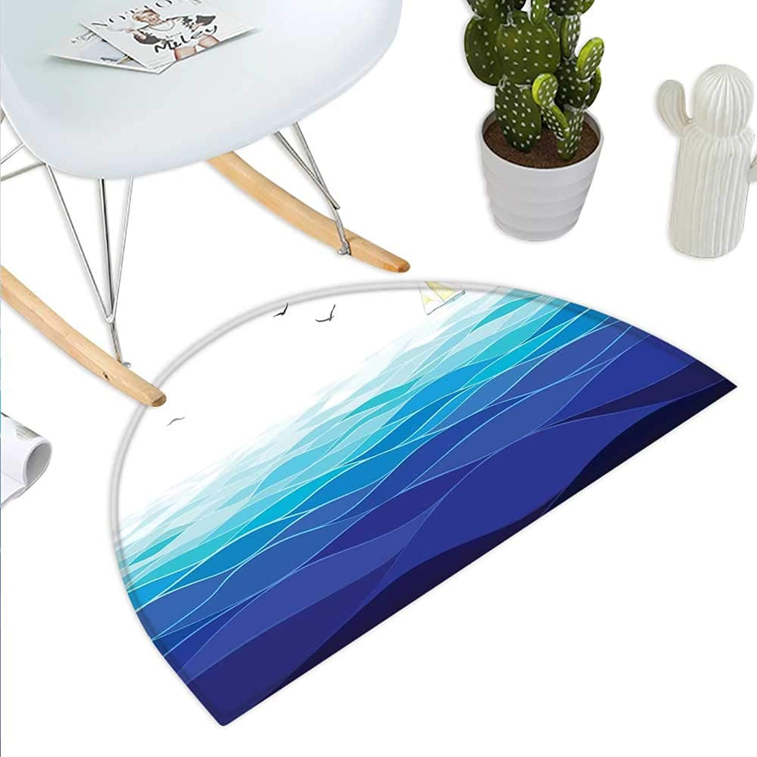 Aqua Semicircle Doormat Graphic Ocean Waves Sailboat with Birds Seagulls Seascape Horizon Maritime Halfmoon doormats H 43.3  xD 64.9  Navy bluee Aqua White