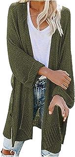BaZhaHei Kimono Cardigan a Maglia Donna Cappotti Manica Lunga Donne Casuale Sciolto Tops Moda Primavera Tinta Unita Taglie...
