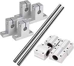 CNBTR Horizontal 8mm Dia Linear Motion Ball Bearing Slide Bushing &200mm Linear Shaft Optical Axis with Rod Rail Support Set