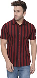 GRITSTONES Black/White Vertical Stripe Half Sleeves Casual Shirt GSHSSHRT2320_P