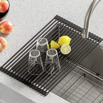 Kraus KRM-10 GREY Silicone-Coated Stainless Steel Over The Sink Multipurpose Roll-Up Dish Drying Rack Grey