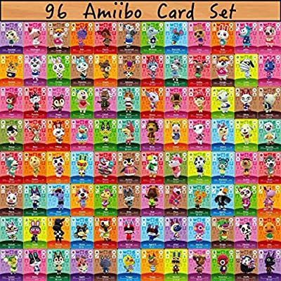 96PCS Most Popular Animal Villagers Mini Cards for ACNH New Horizons, Compatible with Switch/Switch Lite/Wii U Marshal Merengue Julian Lucky Stitches Lolly Ankha Apollo Pietro Zucker Marina