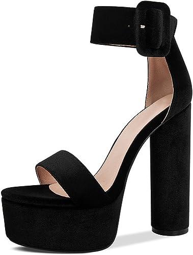 JIANXIN Summer Chaussures pour Femmes Femmes Femmes Boîtes De Nuit Talons épais Plateformes Plateformes Boucles De Plateformes Sandales à Bout Ouvert (Taille   EU 39 US 8 UK 6 JP 25cm) 51e