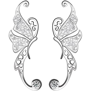 Ear Crawler, Mariafashion Cuff Earrings Sterling Silver Ear Climber Butterfly Diamond Zircon Stud Earrings (butterfly ear cuff)