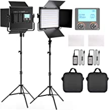 FOSITAN LED Video Light, 2-Pack 3960 Lux Dimmable Photography Lighting Kit with Barndoor for Studio YouTube Interview Outdoor Video Lighting Kit, CRI96 +, 3200-5600K, U Bracket, 79 Inches Light Stand