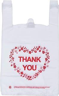 Sponsored Ad - Thank You T Shirt Bags, LazyMe Bolsas De Plastico Para Negocio, Plastic Grocery Bags White Sturdy Handled M...
