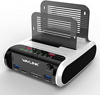 """WAVLINK USB 3.0 to SATA Dual Bay Hard Drive Docking Station with Offline Clone Function for 2.5""""/3.5"""" SATA HDD SSD, Suppor..."""
