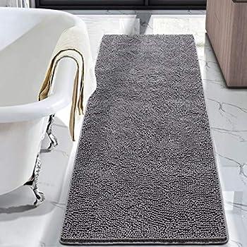 LOCHAS Luxury Bathroom Rug Shaggy Bath Mat 24 x 70 Inch Washable Non Slip Bath Rugs for Bathroom Shower Soft Plush Chenille Absorbent Carpets Mats Grey