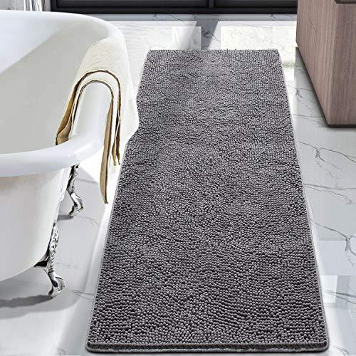 LOCHAS Luxury Bathroom Rug Shaggy Bath Mat 24 x 60 Inch, Washable Non Slip Bath Rugs for Bathroom Shower, Soft Plush Chenille Absorbent Carpets Mats, Gray