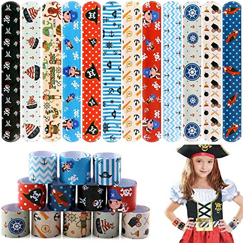 Tacobear 48 pcs Slap Bracelets Pirate Slap Bands for Kids Snap Bands Wristband Pirate Accessories Pirate Party Supplies Pirate Party Bag Fillers for Girls Boys