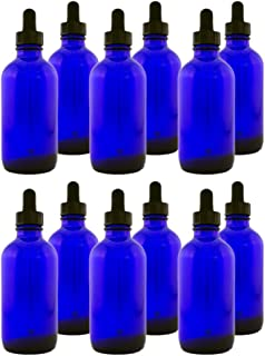 Greenhealth Glass Bottle with Glass Dropper, 4 oz, 12 Piece, Cobalt Blue