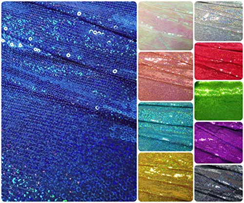 3mm Micro Mini Holographic Sequins on Stretch Polyester Spandex Jersey Fabric (Royal Blue)