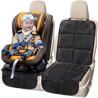 ELR 安全座席マット 保護マット チャイルドシートカバー 滑り止め耐磨 チャイルドシート カーシートカバー 置き物袋付き 黒 (2点)