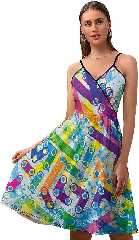 DayDayFun Abstract Summer Dresses Popular overseas Colorful Bargain sale Murky Trippy Grunge