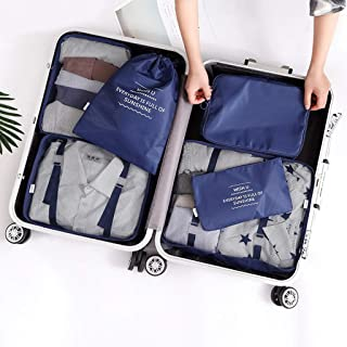 6 Set Packing Cubes 6 Various Sizes Travel Luggage Packing Organizers,Durable Compression Luggage Organizers Set for Travel & Family Storage QDDSP (Color : E)