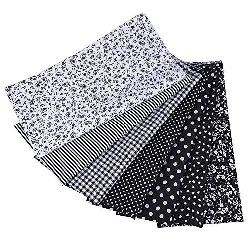 SUPERSUN Tessuto Cotone Stoffa, 7 Pezzi 50 x 50 cm di Tessuto in Cotone,Stoffe per Cucito Creativo,per Patchwork, foderare Cuscini, Vestiti e Cucito