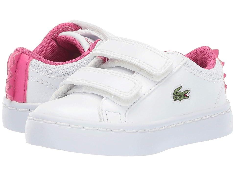 Lacoste Kids Straightset 119 1 CUI (Toddler/Little Kid) (White/Dark Pink) Girl