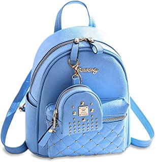 Cute Small Backpack Mini Purse Casual Daypacks Leather for Teen and Women Blue
