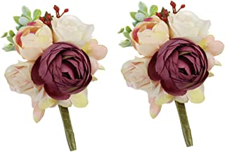 USIX 2pc Pack-Handmade Men's Lapel Artificial Peony Flower Boutonniere Pin for Suit Wedding Groom Groomsmen Brooch Rose Boutonniere (Burgundy Boutonniere x2)