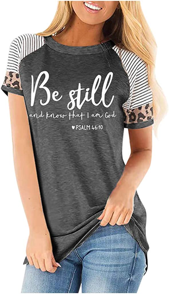 Womens Tops Short Sleeve Dressy Women's Short Sleeve V-Neck Shirts Loose Casual Tee T-Shirt Basic Tops