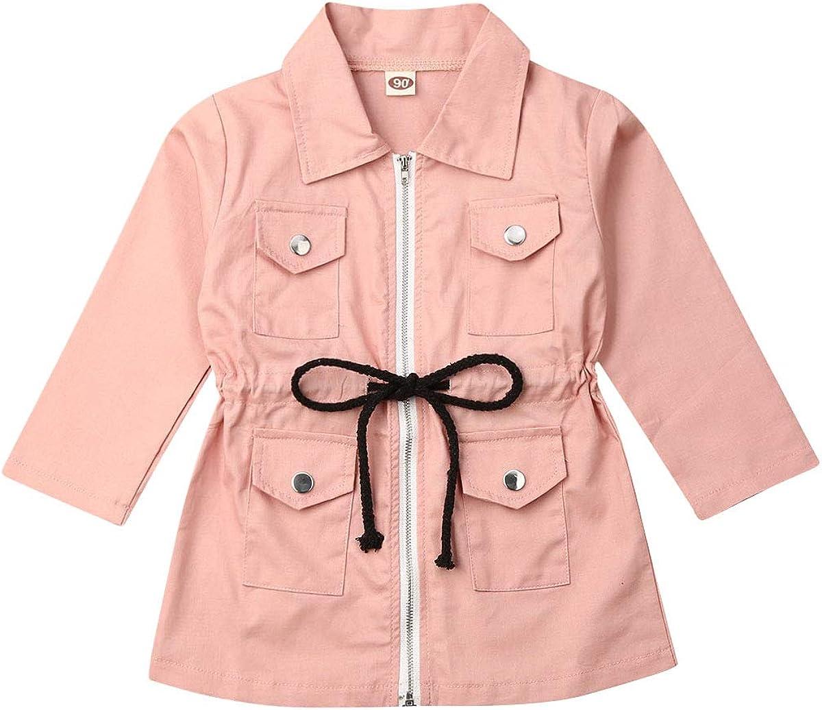 Fall Baby Girls Pink Zipper Jacket Coat Long Sleeve Casual Pocket Slim Waist with Strings Kids Sweatwear Outwear 1-7Y