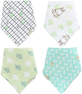 Baby headscarf drooling bib-4 pack unisex rogue and mouth water towel, 100% organic cotton and super absorbent bib, as well as gifts for boys, girls and babies,a