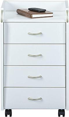B/üroschrank mobiler Aktenschrank Standschrank Druckerschrank Rollcontainer Kommode mit 2 Schubladen Mehrzweckschrank Sideboard auf Rollen Minimalismus 97 x 34 x 65 cm wei/ß HWK09-WEI