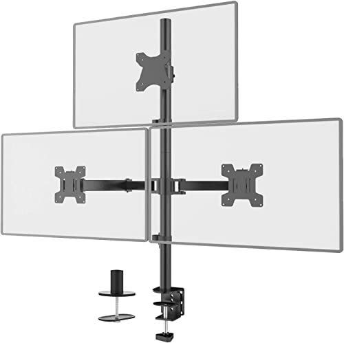 WALI Triple LCD Monitor Desk Mount Fully Adjustable Stand Fits 3 Screens up to 27 inch, 22 lbs. Weight Capacity per A...