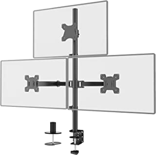 "WALI Triple LCD Monitor Desk Mount Fully Adjustable Stand Fits Three Screens up to 27"", 22 lbs. Weight Capacity per Arm (M..."