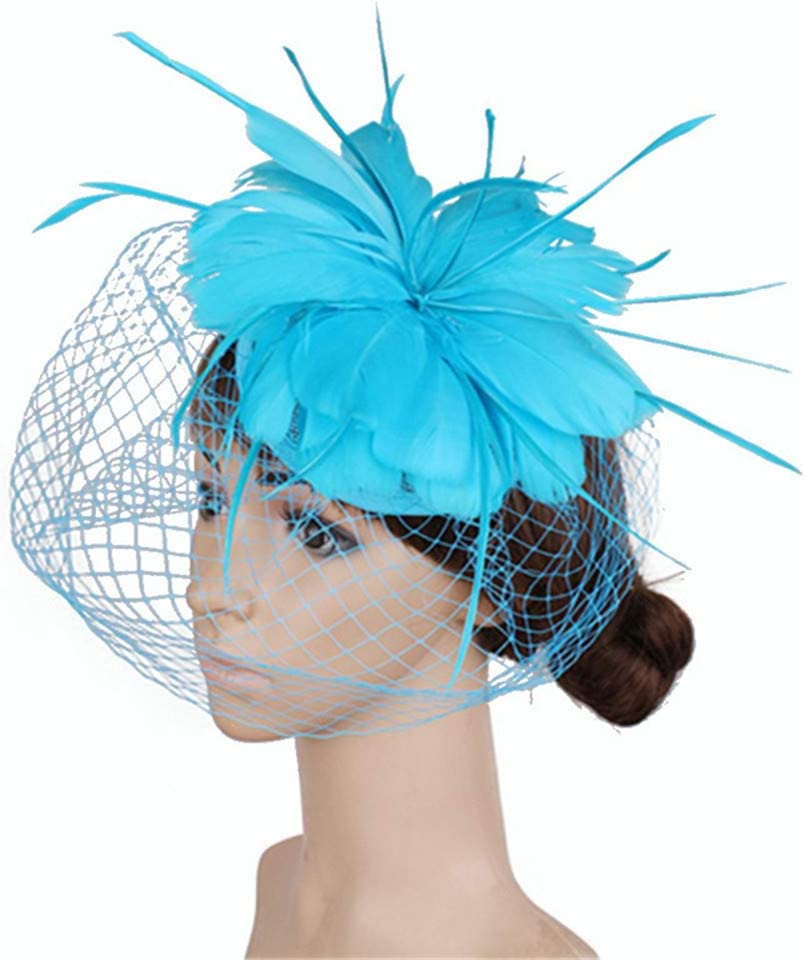 Hat Sinamay Fascinator Hat Tea Party Hats Pillbox Hat Derby Hat for Women Accessories (Color : Blue)