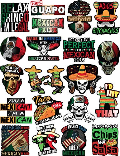 20 Mexican Stickers - Calcomanas Mexicanas  100% Vinyl Stickers for Adults - Funny Decals for Hardhat, Construction, Laptop, Water bottle or Lunchbox. Pegatinas cascos. Calcomanias para autos