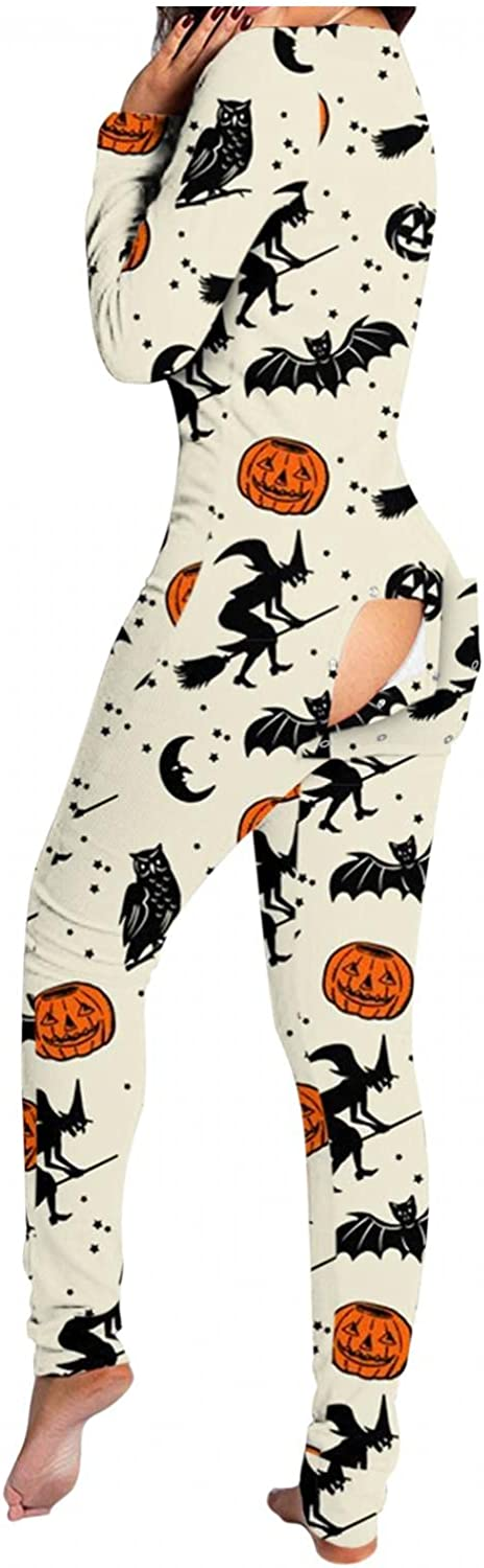 AODONG Pajamas for Women,Halloween Button-Down Front Jumpsuits Functional Butt Buttoned Flap Lingeire Rompers Sleepwear