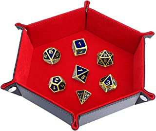 Dice Tray, Uspacific Folding Hexagon Storage Rolling Dice Holder PU Leather Velvet for DND Dice Games and Candy Holder Storage