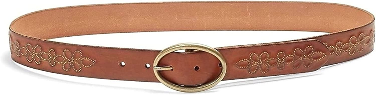 Lucky Brand  Women's  Metallic Floral Embossed Brown Leather Belt