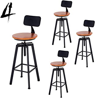 JHBW-bar stool Iron Bar Chair, Adjustable Lift Chair, Solid Wood (Pine) Seat, Suitable for Bars, Cafes, Home (1/2/3/4 Sets)