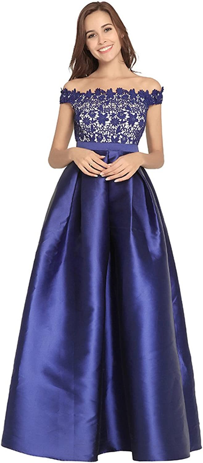 ALine Off Shoulder Lace Satin Over Tulle Cocktail Party Homecoming Dress for Ladies Women Lady (color   bluee, Size   2XL)